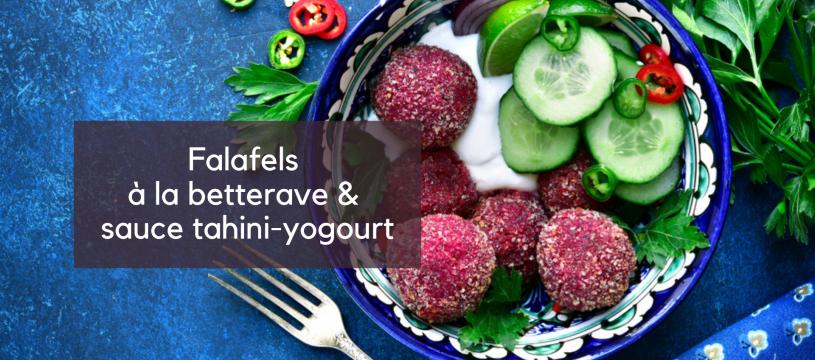 Falafels à la betterave et sauce tahini-yogourt